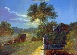 Charles Greville Morris - Moonlight Reflections Near Barn