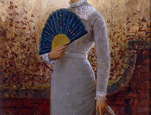 Charles Frederick Lowcock – Elegant Lady in a Garden Holding Fan