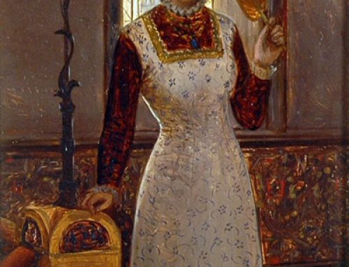 Charles Frederick Lowcock – Lady Holding A Fan Before A Stained Glass Window