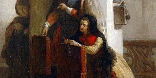 Firmin Gaston Bouvy - Young Woman At Prayer