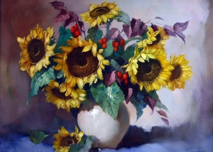 Helmuth Andreas Volkwein - Sunflowers And Red Berries In A Vase
