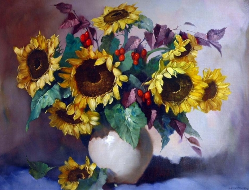 Helmuth Andreas Volkwein – Sunflowers And Red Berries In A Vase