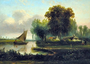 Hermanus Jan Hendrick Rijkelijkhuysen - Dutch House By The Riverside