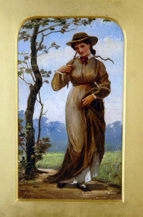 John Cuthbert Salmon - Young Woman In A Country Lane