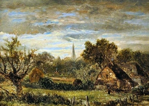 Joseph Thors - Sunset Over Weybridge Church