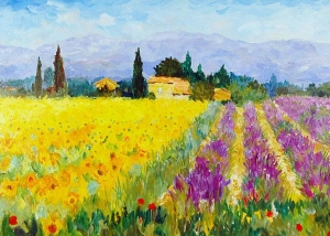 Marcel Gatteaux - Sunflowers and Lavender, Provence