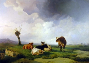 Thomas Sidney Cooper - A Bull And Three Cows In A Canterbury Meadow Near Fordwich
