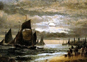 William and Herbert Thornley - Moonlight Shore Scene